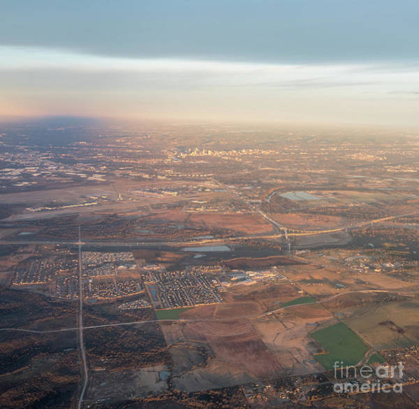 Photograph - Aerial View Of Downtown Austin From Plane About To Land by PorqueNo Studios