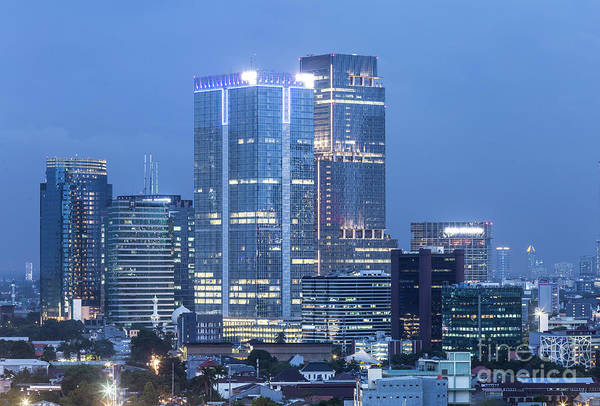 Photograph - Aerial View Of Jakarta Business District At Night In Indonesia.  by Didier Marti