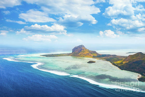 Wall Art - Photograph - Aerial View Of Le Morne Brabantl. Mauritius by MotHaiBaPhoto Prints
