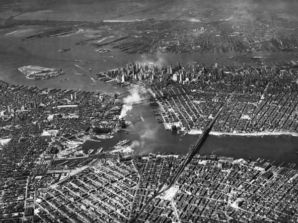 Wall Art - Photograph - Aerial View Of Lower Manhattan by Underwood Archives