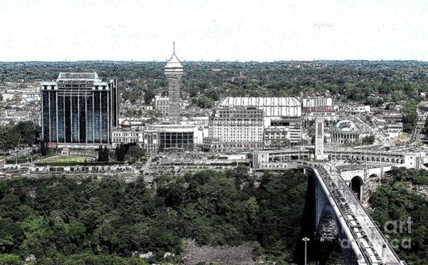 Photograph - Aerial View Of Niagara Falls Ontario Skyline Ink Sketch Effect by Rose Santuci-Sofranko