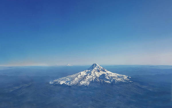 Mount Hood Photograph - Aerial View Of Snowy Mountain by Art Spectrum