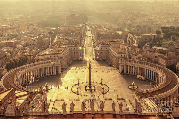 Saint Peters Square Photograph - Aerial View Of St Peter's Square by Delphimages Photo Creations