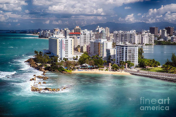 Wall Art - Photograph - Aerial View Of The Condado Shoreline  by George Oze