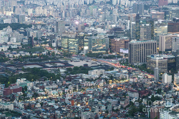 Photograph - Aerial View Of The Gyeongbokgung Royal Palace In Seoul, South Ko by Didier Marti