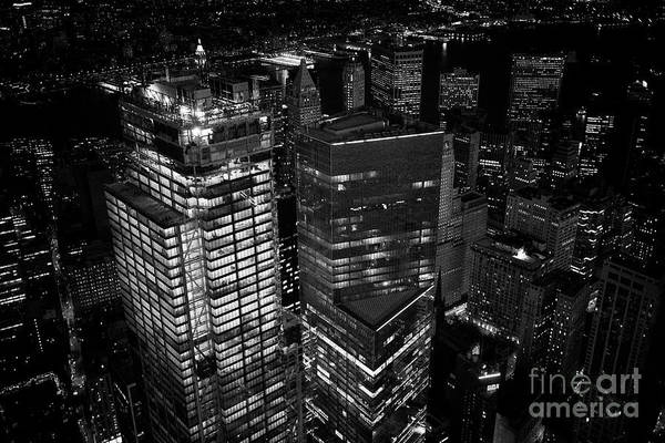 Wall Art - Photograph - aerial view of three and four world trade center and financial district New York City USA by Joe Fox
