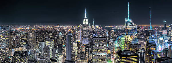 Wall Art - Photograph - Aerial View Over New York City By Night by Mihai Andritoiu