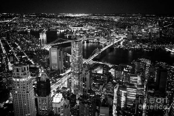 Wall Art - Photograph - aerial view over the financial district two bridges and brooklyn manhattan New York City USA by Joe Fox