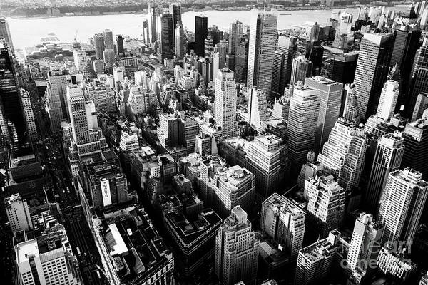 Hells Kitchen Wall Art - Photograph - aerial view over the garment and hells kitchen clinton districts of New York City U by Joe Fox