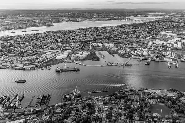 Photograph - Aerial View Port Of Ny And Nj Bw by Susan Candelario