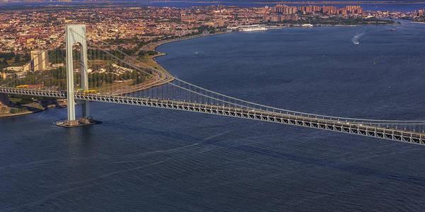 Photograph - Aerial View Verrazano Bridge And Brooklyn by Susan Candelario