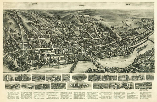 World Map Mixed Media - Aero View Of Watertown, Connecticut  by Bailey