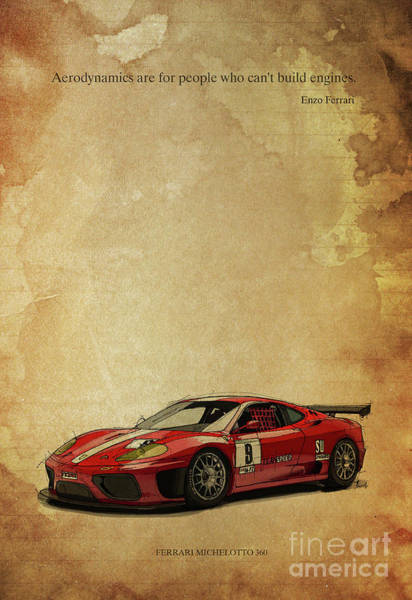 Wall Art - Drawing - Aerodynamics Are For People Who Cant Build Engines. Enzo Ferrari Quote by Drawspots Illustrations