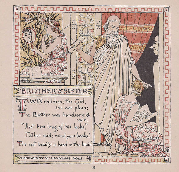 Boho Chic Drawing - Aesops Fables Brother And Sister by Victorian Illustrator