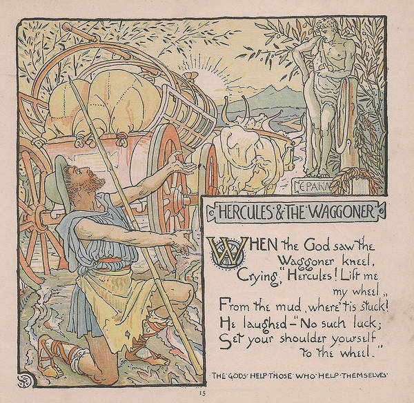 Boho Chic Drawing - Aesops Fables Hercules And The Waggoner by Victorian Illustrator