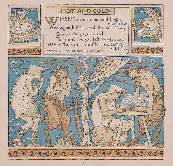 Boho Chic Drawing - Aesops Fables Hot And Cold by Victorian Illustrator