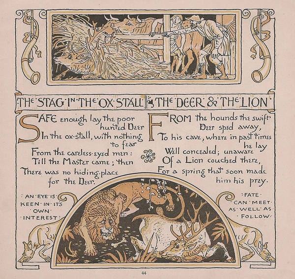 Boho Chic Drawing - Aesops Fables Stag Ox Deer Lion by Victorian Illustrator
