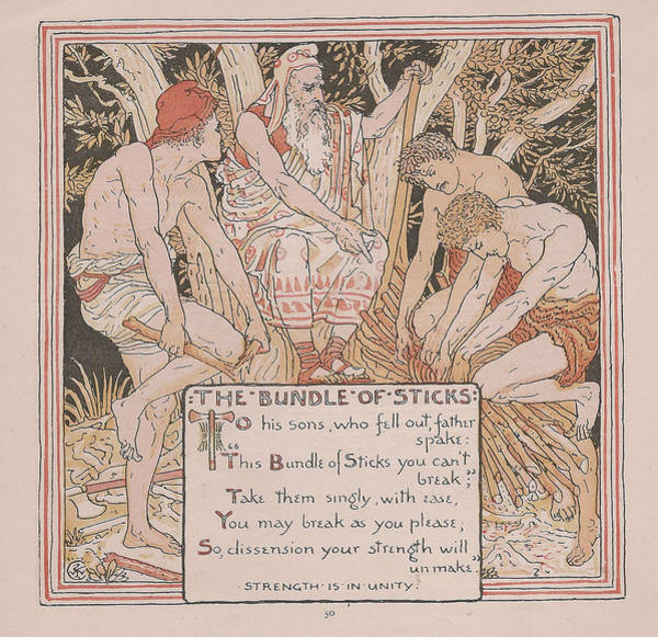 Boho Chic Drawing - Aesops Fables The Bundle Of Sticks by Victorian Illustrator