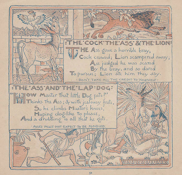 Boho Chic Drawing - Aesops Fables The Cock Ass Lion And Lapdog by Victorian Illustrator