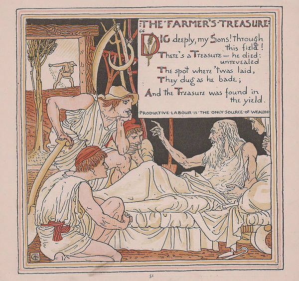 Boho Chic Drawing - Aesops Fables The Farmers Treasure by Victorian Illustrator