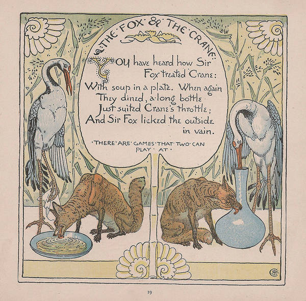 Boho Chic Drawing - Aesops Fables The Fox And The Crane by Victorian Illustrator