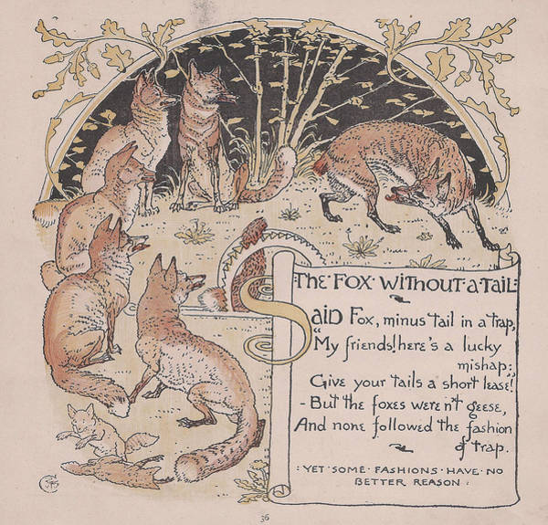 Boho Chic Drawing - Aesops Fables The Fox Without A Tail by Victorian Illustrator