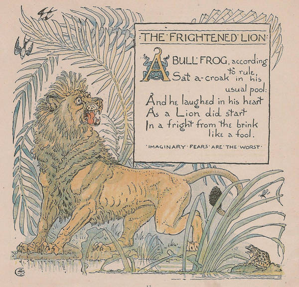 Boho Chic Drawing - Aesops Fables The Frightened Lion by Victorian Illustrator