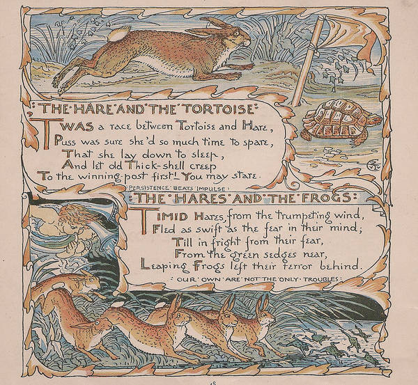 Boho Chic Drawing - Aesops Fables The Hare And The Tottoise by Victorian Illustrator