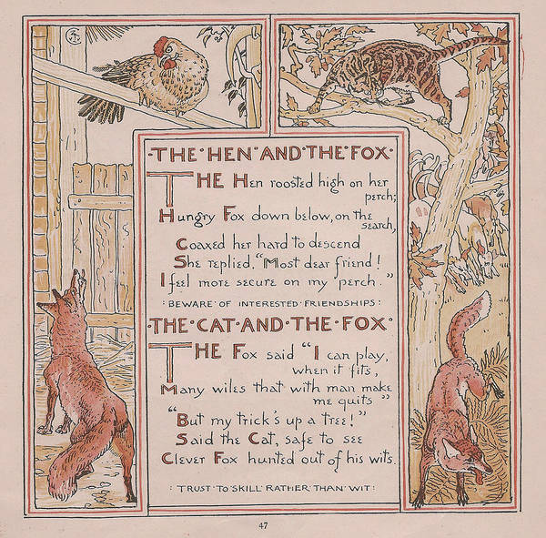 Boho Chic Drawing - Aesops Fables The Hen And The Fox by Victorian Illustrator