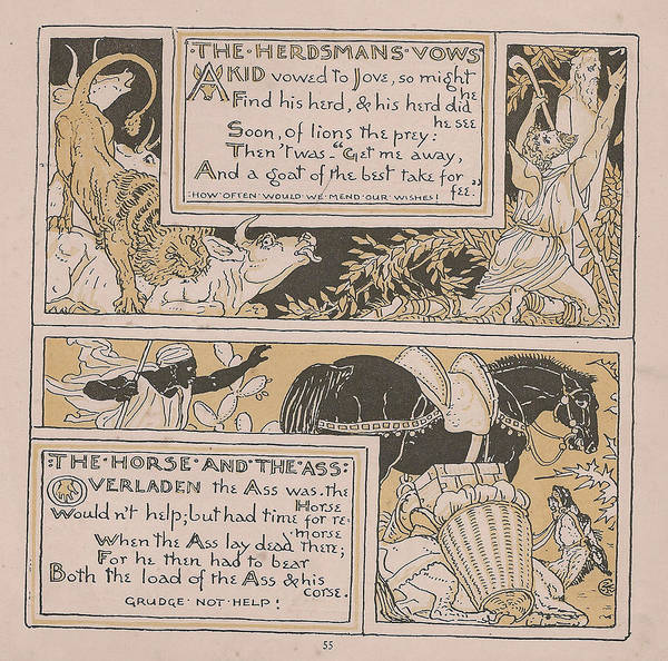 Boho Chic Drawing - Aesops Fables The Herdsmans Vows by Victorian Illustrator