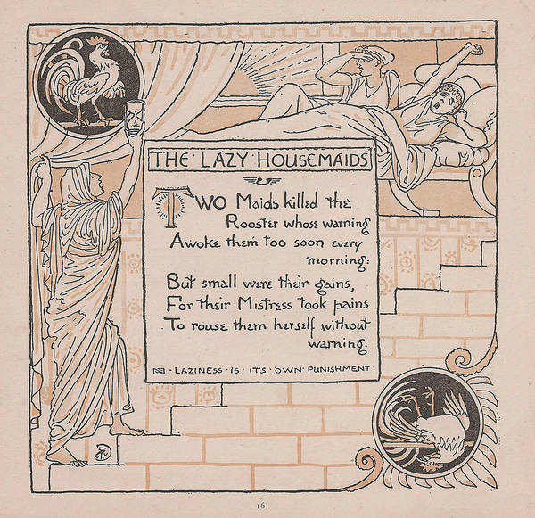 Boho Chic Drawing - Aesops Fables The Lazy Housemaids by Victorian Illustrator