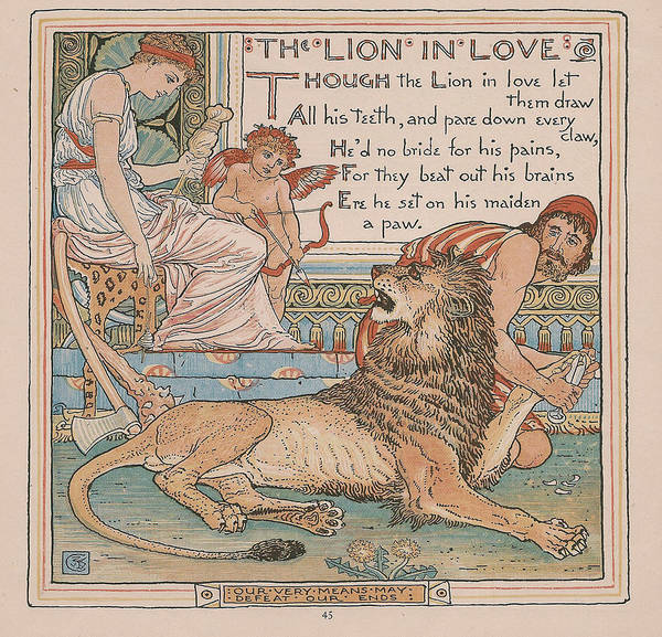 Boho Chic Drawing - Aesops Fables The Lion In Love by Victorian Illustrator
