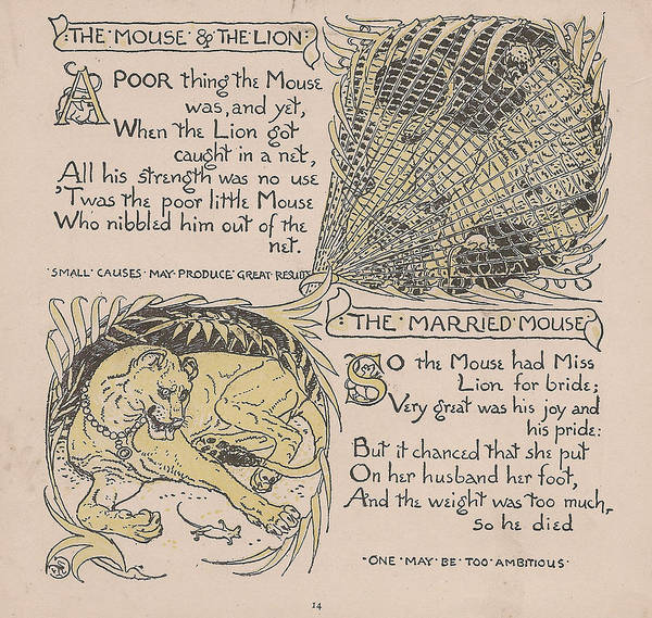 Boho Chic Drawing - Aesops Fables The Mouse Lion Married Mouse by Victorian Illustrator