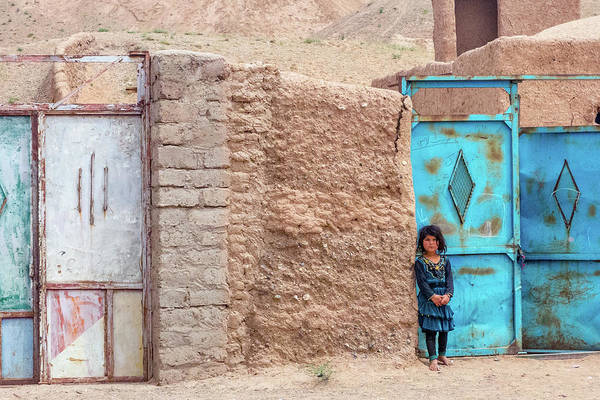 Photograph - Afghan Girl By Blue Door by SR Green