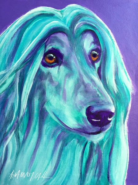 Wall Art - Painting - Afghan Hound - Aqua by Alicia VanNoy Call