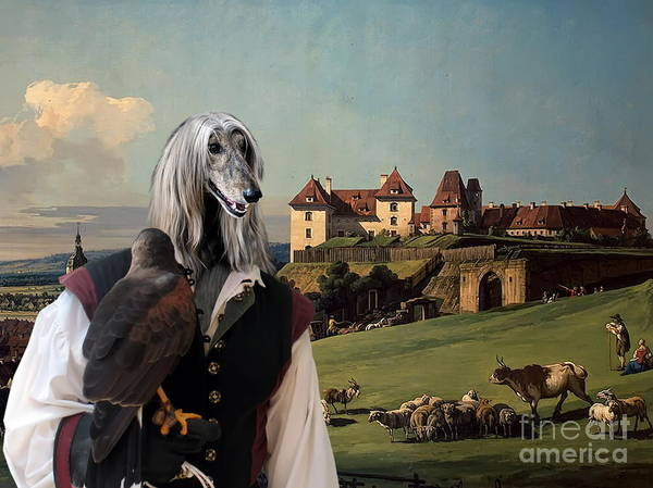 Sighthound Wall Art - Painting - Afghan Hound-falconer And Castle Canvas Fine Art Print by Sandra Sij