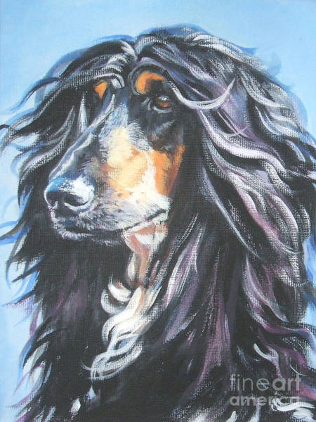 Sighthound Wall Art - Painting - Afghan Portrait by Lee Ann Shepard