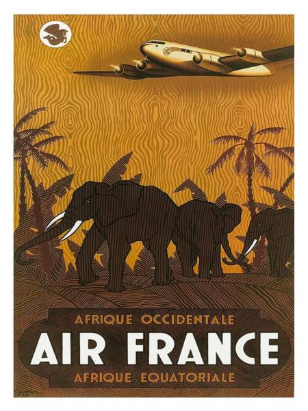 Equatorial Africa Wall Art - Digital Art - Africa Air France Elephants Vintage Airline Travel Poster by Retro Graphics