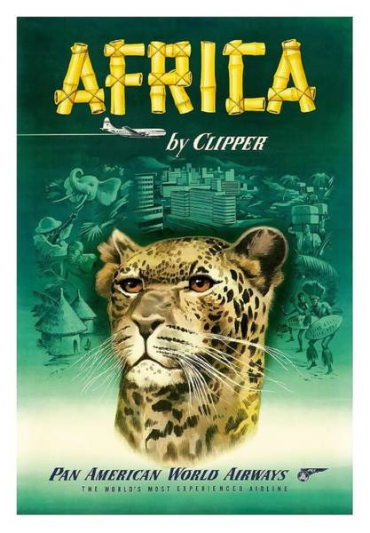 African Tribal Digital Art - Africa Cheetah Pan American  Vintage Airline Travel Poster by Retro Graphics