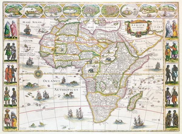 Colours Drawing - Africa Nova Map by Willem Blaeu