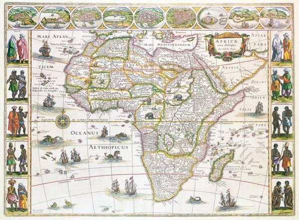 Colour Drawing - Africa Nova Map by Willem Blaeu