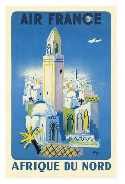 North Africa Wall Art - Digital Art - Africa Of The North Air France Vintage Airline Travel Poster by Retro Graphics