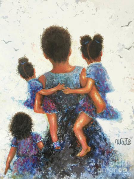 Wall Art - Painting - African American Mother Three Daughters by Vickie Wade