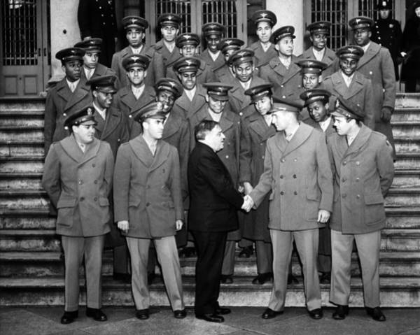 Wall Art - Photograph - African American Navigation Cadets With Mayor La Guardia by War Is Hell Store