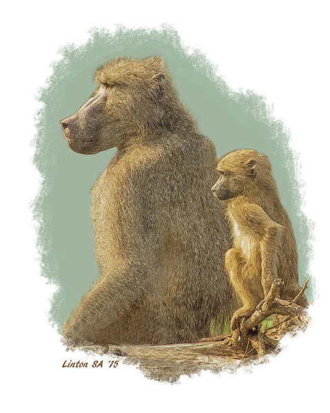 Digital Art - African Chacma Baboons by Larry Linton