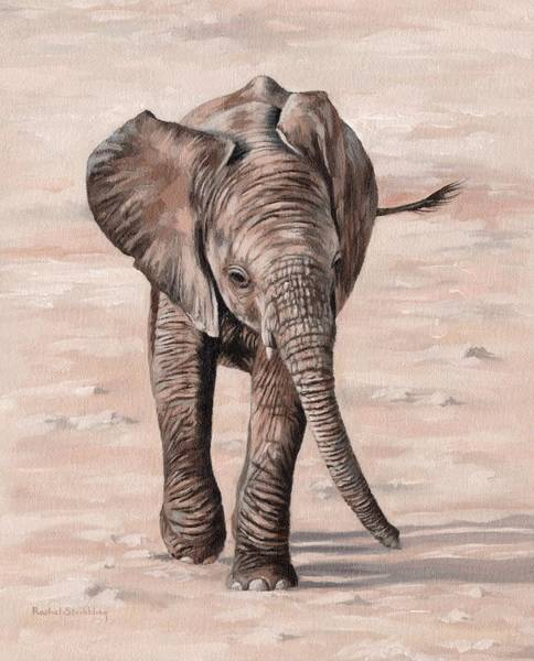 Alla Prima Painting - African Elephant Calf Painting by Rachel Stribbling