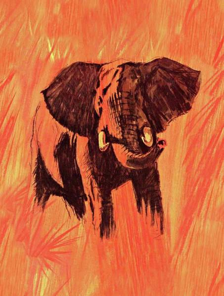 Mixed Media - African Elephant On The Plains by Movie Poster Prints