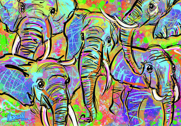 Indonesia Digital Art - African Elephants by Morgan Richardson