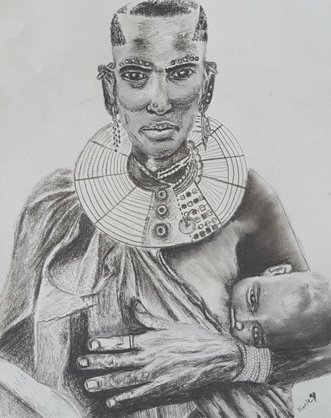 Drawing - African Mother by Adekunle Ogunade