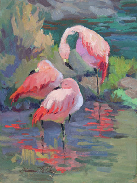Painting - African Pink Flamingos by Diane McClary